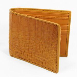 Real  Beige Crocodile Alligator Leather Belly Skin Mens Bi-fold Wallet.