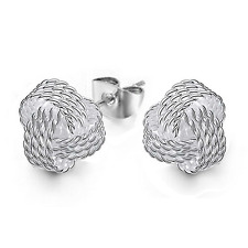 925 Sterling Silver Plated Women Twisted Wire Ball Ear Stud Earring Jewelry Gift