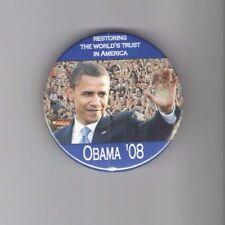 RESTORING the World's TRUST in America OBAMA 3in PIN 2008 pinback