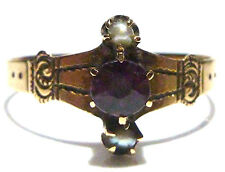 VICTORIAN 10K GOLD ESTATE WOMENS SEED PEARL AND PINK / PURPLE STONE SIZE 7