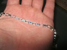 """925 Sterling Silver Jewelry set Quadrate Circle link 20"""" Necklace and Bracelet"""