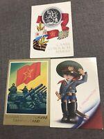 A set of postcards Soviet Army USSR Vintage original 3 pcs.