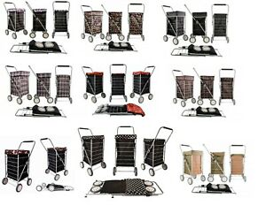 Premium 4 Wheels Shopping Trolley Caged Folding Flat Strong Bag / Spare Wheel