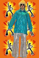40 ✪ 70er anni Saturday Night Fever Uomo paillettes colpo Pantaloni Argento Taglia 48 50