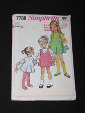 Vintage 1968 Simplicity Sewing Pattern 7788 Childs Sz 6 Slip Dress Jumper Uncut
