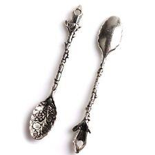 100pcs New Charm Wholesale Antique Silver Spoon Carved Flower Alloy Pendant L
