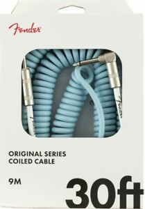 FENDER GUITAR LEAD CABLE DAPHNE BLUE - COILED - 30FT / 9M - ANGLED - GIFT IDEA