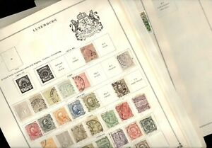 LUXEMBOURG, Excellent assortment of Stamps hinged on Scott pages