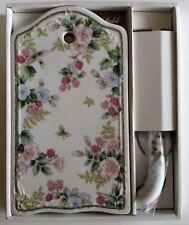 Cheese Cutting Board & Knife Set Fine Porcelain Andrea by Sadek Flowers/berries