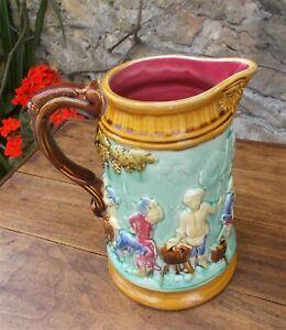 antique majolica jug, large pitcher, vase French