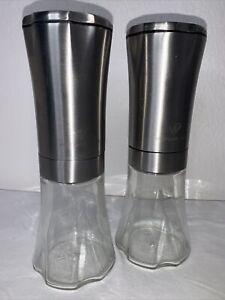 Wolfgang Puck Gravity Battery Operated Glass Staniless Steel Salt & Pepper Set
