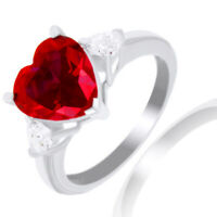 Ruby & Diamond Three-Stone Anniversary Ring 14k Gold Over Sterling Silver 925