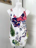 Rachel Rachel Roy White Multi Color Floral V Neck Tank Top Women's Size Small