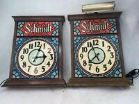 Pair of Vintage Schmidt Beer Electric Clock Signs Stain Glass Type  - Parts