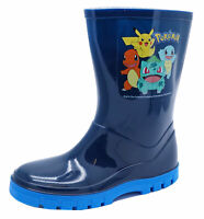 BOYS KIDS POKEMON WELLIES WELLINGTONS SPLASH RAIN WATERPROOF BOOTS SIZES 7-12