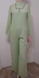 Vintage 70's Jumpsuit MOD Mint Green Wool Blend Rhinestone Trim LS 34