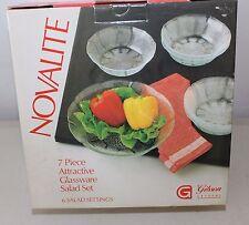 Gibson Crystal Novalite 7 Piece Glassware Salad Set NIB L#657