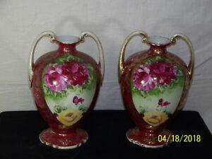 Nippon Hand Painted Wheelock 1 Pair of Vases