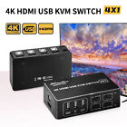 4 Port 4K HDMI USB KVM Switch 4X1 Switcher for PC Laptop Sharing Mouse Keyboard