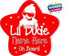 Personalised Baby On Board Car Sign ~ Lil Dude Star shape Red