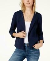 Maison Jules Women's 3/4 Sleeve Knit Blazer Blue Notte