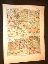 Carta cartina estratta da Atlante del 1890 Impero di Francia e Regno d'Italia
