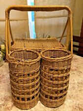 New listing Vintage Wicker picnic basket with two wine bottle holders 11x16x10�