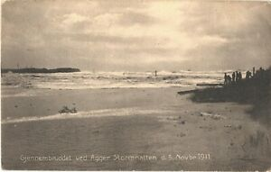 The Breakthrough Is Known To Agger Stormnatten November 5, 1911 Denmark Postcard