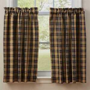 "(1) pair Pittsfield Dark Navy Tan Plaid Cotton Window Unlined Tiers 72"" x 36"""
