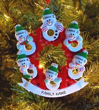 Snowman Hugs & Kisses Wreath Family Of 6 Personalized Christmas Ornaments
