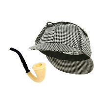 Adult Sherlock Holmes Detective Sleuth Halloween Costume Accessory Hat With Pipe