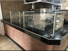 108 9 Ft Pizza Display Case Glass Sneeze Guard All Stainless Steel With Shelf