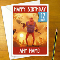 HELLO NEIGHBOUR Personalised Birthday Card - neighbor personalized peterson