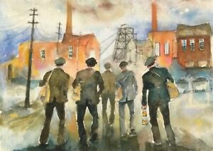 LARGE WATERCOLOUR PAINTING THE MINERS houses street