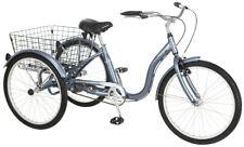 Meridian Adult Comfortable Tricycle 24-inch Wheels w/ Rear Storage Basket, Grey
