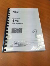 NIKON 1 V3 CAMERA PRINTED INSTRUCTION MANUAL USER GUIDE 160 PAGES A5