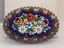 "Beautiful Older Italian Micro Mosaic 2 1/8"" Brooch Lovely Flower Bouquet"