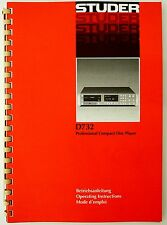 STUDER REVOX D732 Orig. CD Compact Disc Player Bedienungsanleitung/User Manual!
