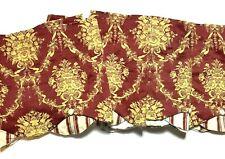 Waverly Designer Luxury Window Curtains Valances Set 4 Red Gold Print Scalloped