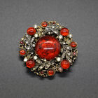 Vintage Signed ART Red Glass Cabochon Gripoix Pin Brooch