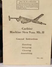 Original WWII Carbine Sten Machine Gun MkII General Instructions manual.