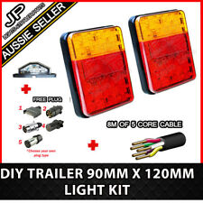 Pair of 30 LED TRAILER LIGHTS KIT - 1x NUMBER PLATE, PLUG, 8M x 5 CORE CABLE 12V