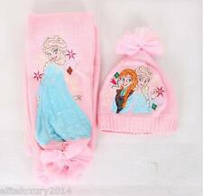 New Girl's Frozen Elsa and Anna Scarf and Hat 2 pc Set Free Shipping