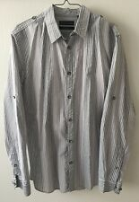 NWT Mens DKNY Shirt Slim Fit Button Up Shirt Gray Striped  100% Cotton M