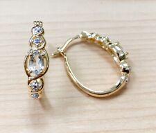 Diamond Huggie Earrings New! 0.50ctw Genuine Aquamarine Stone &
