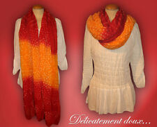 Grand Foulard 100% coton orange et rouge - FC2