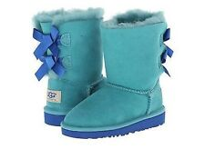 UGG Australia Girls Green/blue Double Bows Back Short Boots 11 Toddler
