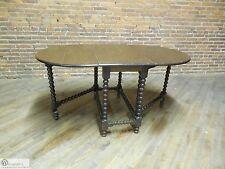 Antique Arts & Crafts Style Quarter Sawn Oak Spool Gate Leg Drop Side Table