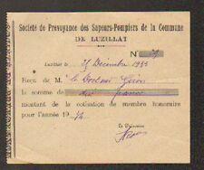 """LUZILLAT (63) POMPIERS """"Sté de Prévoyance des SAPEURS POMPIERS de LUZILLAT"""" 1934"""