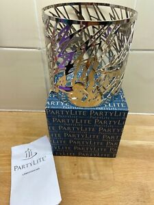 Partylite Sandpipers Jar Sleeve Candle Holder Silver Metal Birds (b7)